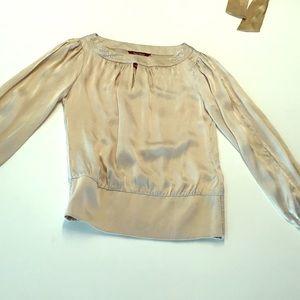 White House Black Market gold blouse sz 0